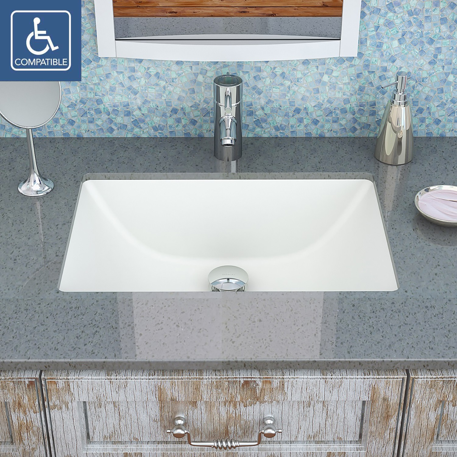 Decolav Callensia 1402 Series Rectangular Undermount Vitreous China Bathroom Sink