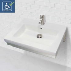 Coral WALL-MOUNT RECTANGULAR BATHROOM SINK WITH STAINLESS STEEL MOUNTING BRACKET
