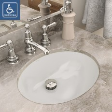 Carlyn® Oval Biscuit Vitreous China Undermount Lavatory with Overflow
